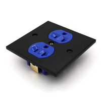 Free shipping one piece US-AC-power-Receptacles wall outlet audio grade copper made socket Duplex Plate 86mm*86mm blue