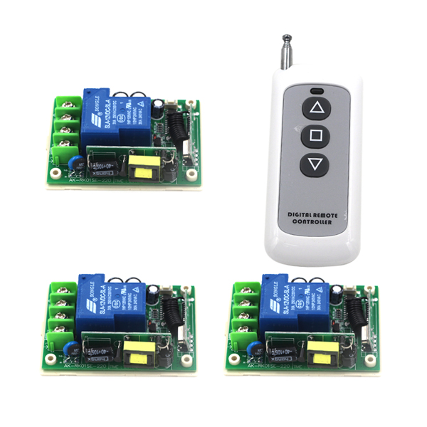 AC 85V-250V 110V 30A 433MHz Wireless Remote Control Switch 1 Transmitter with 3 Receiver SKU: 5279 wireless pager system 433 92mhz wireless restaurant table buzzer with monitor and watch receiver 3 display 42 call button