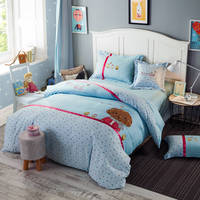 Blue Cartoon Dogs Print Applique Embroidered Bedding Set Twin Full Queen Size Cotton Coverlets Bedclothes Woven Children's Babys