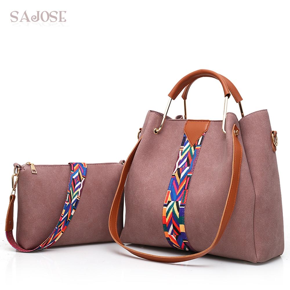 2 Pcs/Set Fashion Patchwork Women Handbags Colorful <font><b>Strap</b></font> Shoulder <font><b>Bags</b></font> Designer Women Crossbody <font><b>Bags</b></font> Big Casual Tote <font><b>Bag</b></font> SAJOSE