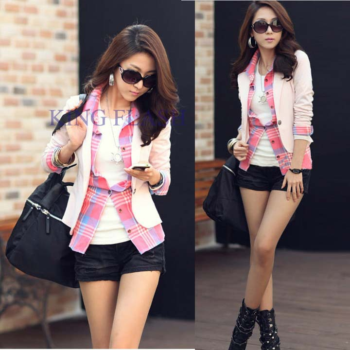 2014 New Spring Summer Women Blazers And Jackets Korean Style Coat Fashion Jacket One Button