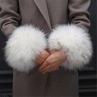 1 пара негабаритных Sleevelet искусственный мех рук кольцо бурелом Прекрасный наручные муфта рукава для женские теплые трикотажные изделия зим...