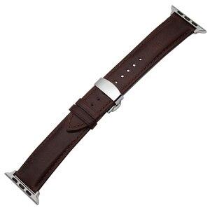 Image 4 - إيطاليا جلد طبيعي Watchband ل iWatch أبل ساعة 38 مللي متر 40 مللي متر 42 مللي متر 44 مللي متر سلسلة 5 4 3 2 فراشة المشبك الفرقة مجنون الحصان حزام