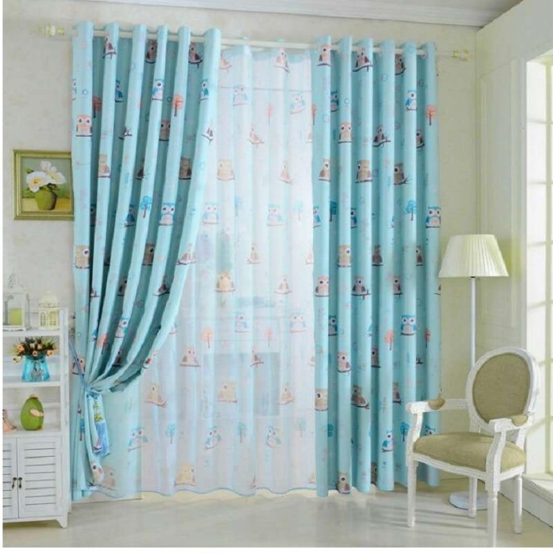 bho impreso cortinas de tela de los nios nursery pao azul amarillo cortinas de tul