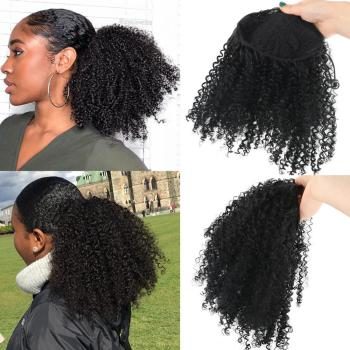 Deyngs Draw string Puff Afro Kinky Curly ponytail African American Short Wrap Synthetic clip in ponytail Hair Extensions 8inch 1