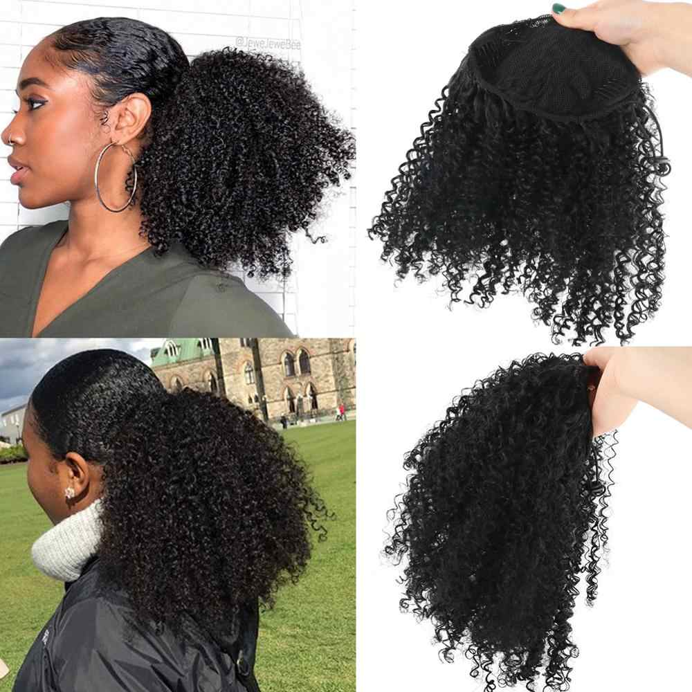 Deyngs Draw string Puff Afro Kinky Curly ponytail African American Short Wrap Synthetic clip in ponytail Hair Extensions 8inch