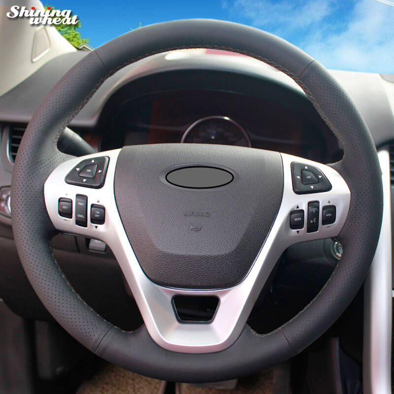 Shining wheat Black Leather Car Steering Wheel Cover for Ford Explorer 2011-2016 Taurus 2012-2015 Edge 2011-2014 shining wheat black genuine leather car steering wheel cover for fiat bravo 2007 2011