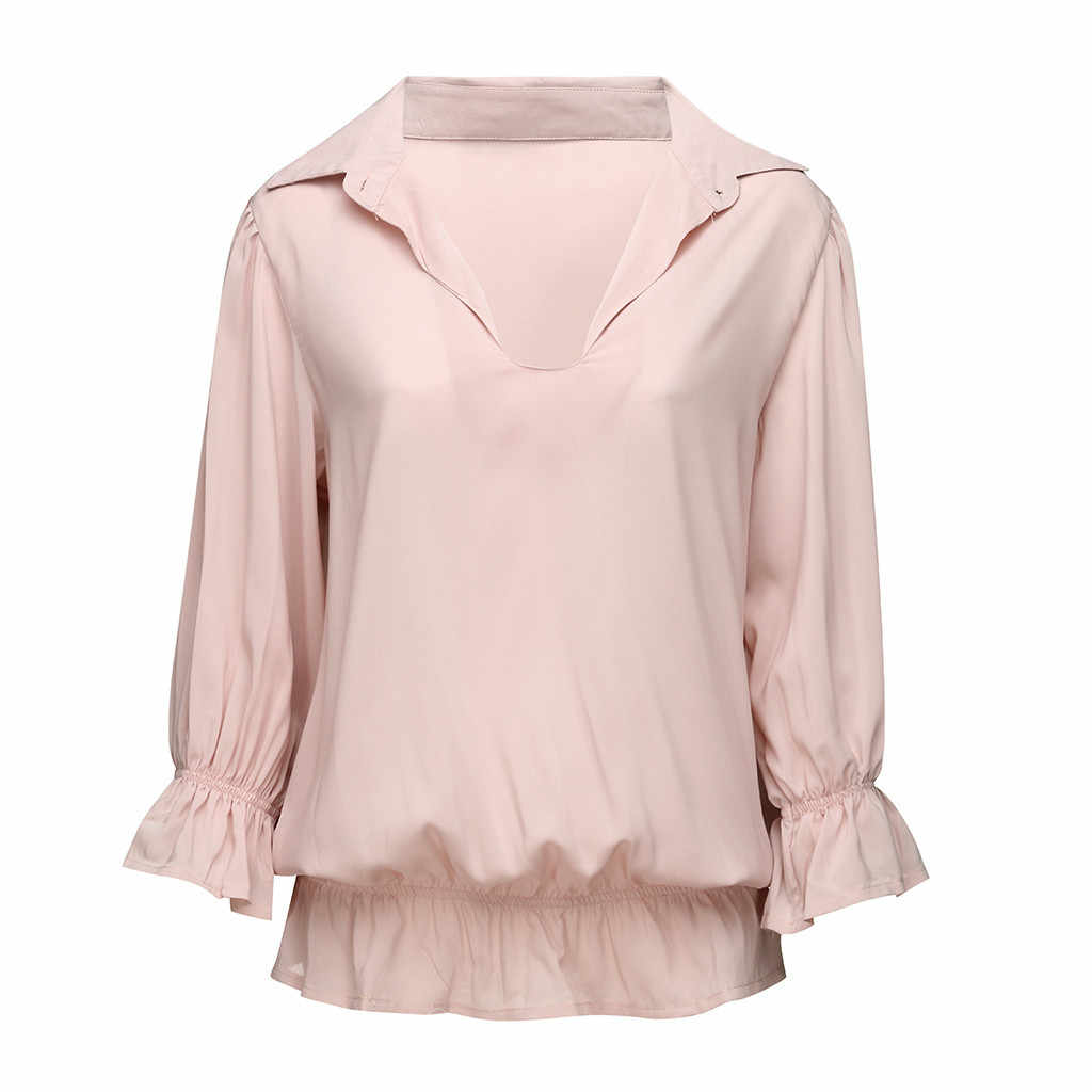 Elegant Blouse Women's Solid 3/4 Sleeve Ruffled Elastic Band Button-Open Collar Top Blouse 2019 Clothes Dropshipping