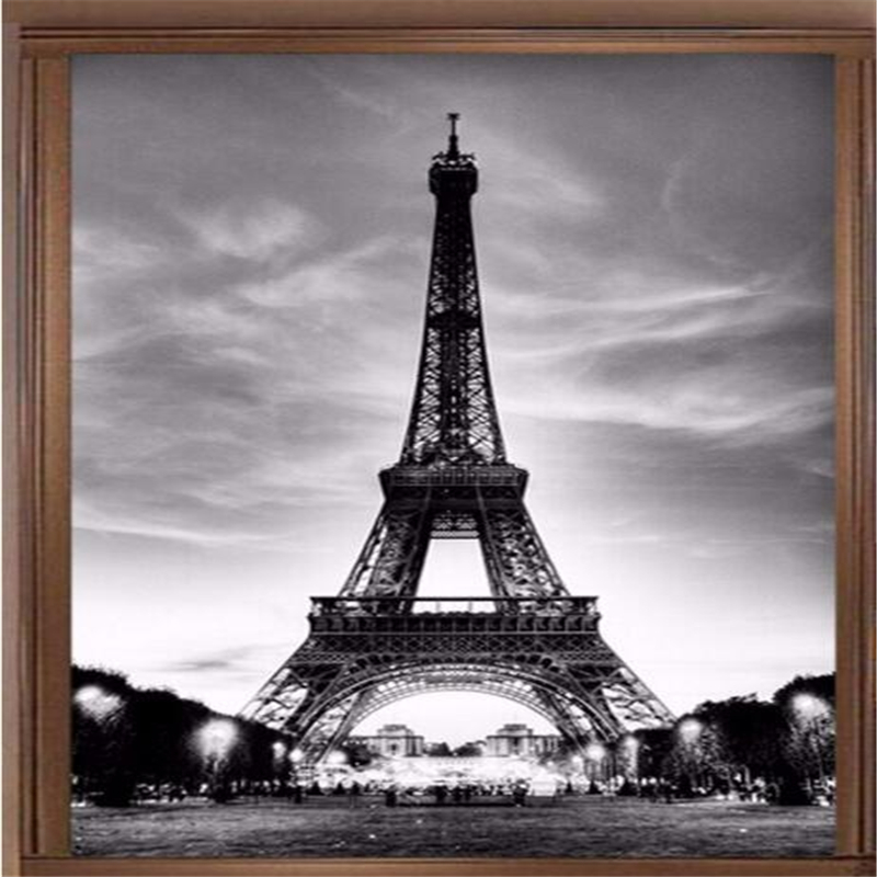 Beibehang   France Tower Black And White Seamless Three-dimensional Wall Stickers Large Wallpapers Entrance Background Wallpaper