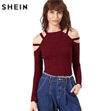 Шеин Для женщин футболка с длинным рукавом 2017 г. пикантные Для женщин Топы корректирующие бордовый в рубчик Knit Strappy открытыми плечами разрез Fit T-Shirt