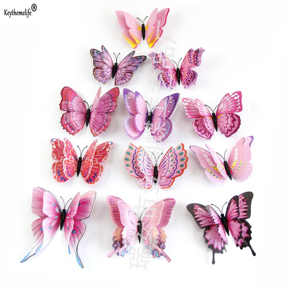 12pcs/Pack Double Layer Butterfly Wall Stickers 3D Butterflies Colorful Bedroom Living Room Decor For Home Fridage Decoration C