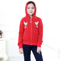 2018 New Style Spring Autumn Girls Hoodie Cotton Coat Sports Jackets With Embroidery For 3 12T