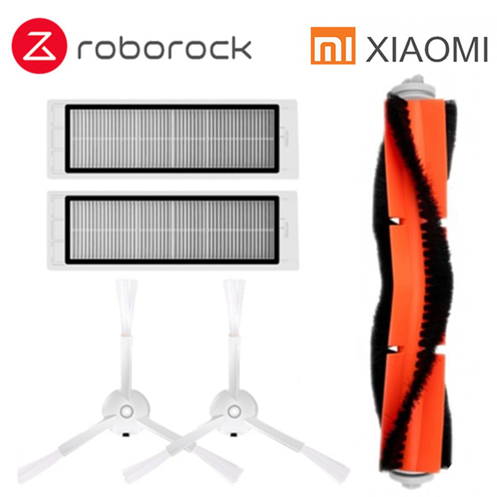 Suitable for Xiaomi Roborock Robot S50 S51 Vacuum Cleaner Spare Parts Kits filter Side Brush Roll Brush 2pcs suitable for xiaomi robot vacuum cleaner roborock spare parts kits side brush
