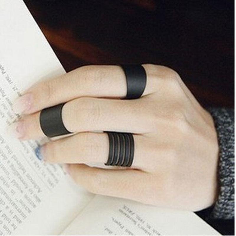 3 шт./компл. для женщин набор колец черный стек Обычный выше костяшки группа миди кольцо любимые bague femme