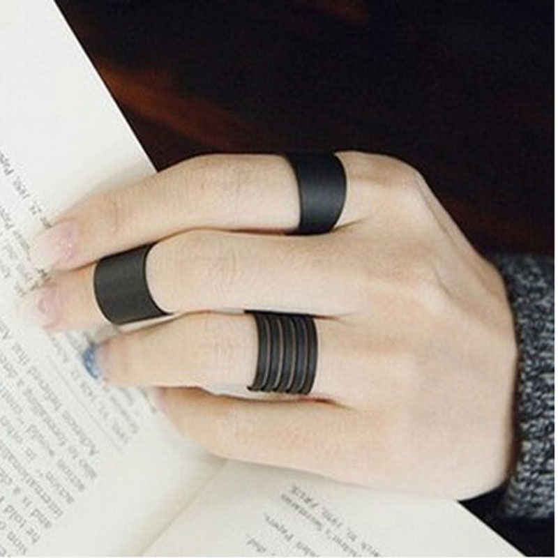 3 Pcs/set Set Cincin Wanita Hitam Stack Plain Di Atas Knuckle Midi Band Cincin Favorit Bague Femme