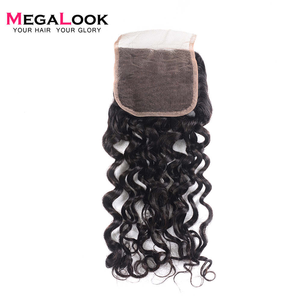 Megalook Lace Closure Human-Hair Brazilian 4--4-Light 10-22inch Brown Water-Wave 100%Remy