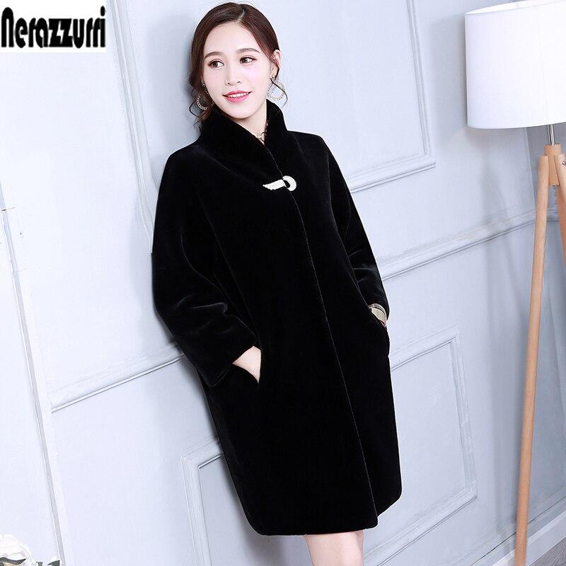 Winter faux fur coat women colored blue black grey furry plus size plush coat 5XL 6XL