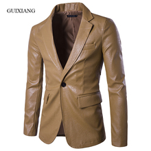 2017 new spring and autumn style men suit blazer high quality PU leather fashion casual solid slim men's suit dress large size