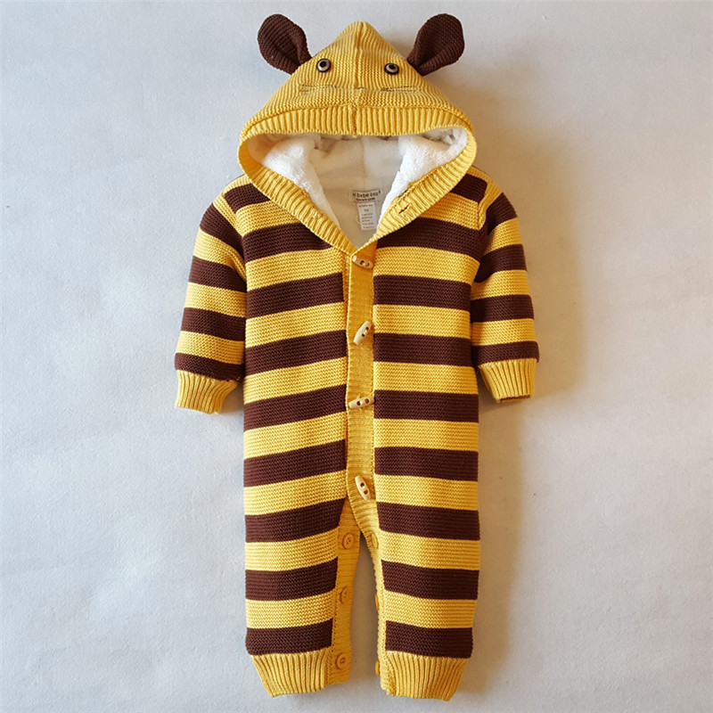2017 NEW Baby Rompers Winter Thicken Warm Baby girl boy Clothing Long Sleeve Hooded Jumpsuit Kids Newborn Outwear for 0-18M infant baby clothes sets warm long sleeve rompers newborn boy girl sweater christmas costume deer plush hooded outwear kids suit