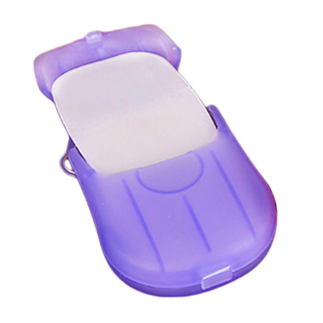 新 20 個屋外旅行石鹸香りスライスシート紙洗濯クリーン洗浄とケアケースハイキングアクセサリー