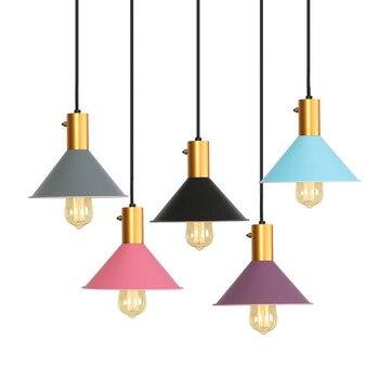 Скандинавские светодиодные подвесные светильники, цветные железные современные подвесные лампы для спальни, Lanparas De Techo, обеденный светильн...