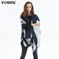 Vomint 2017 Fashion Women European American Style Blue Gray Scarf Dual Lattice Winter Warm Female Cashmere