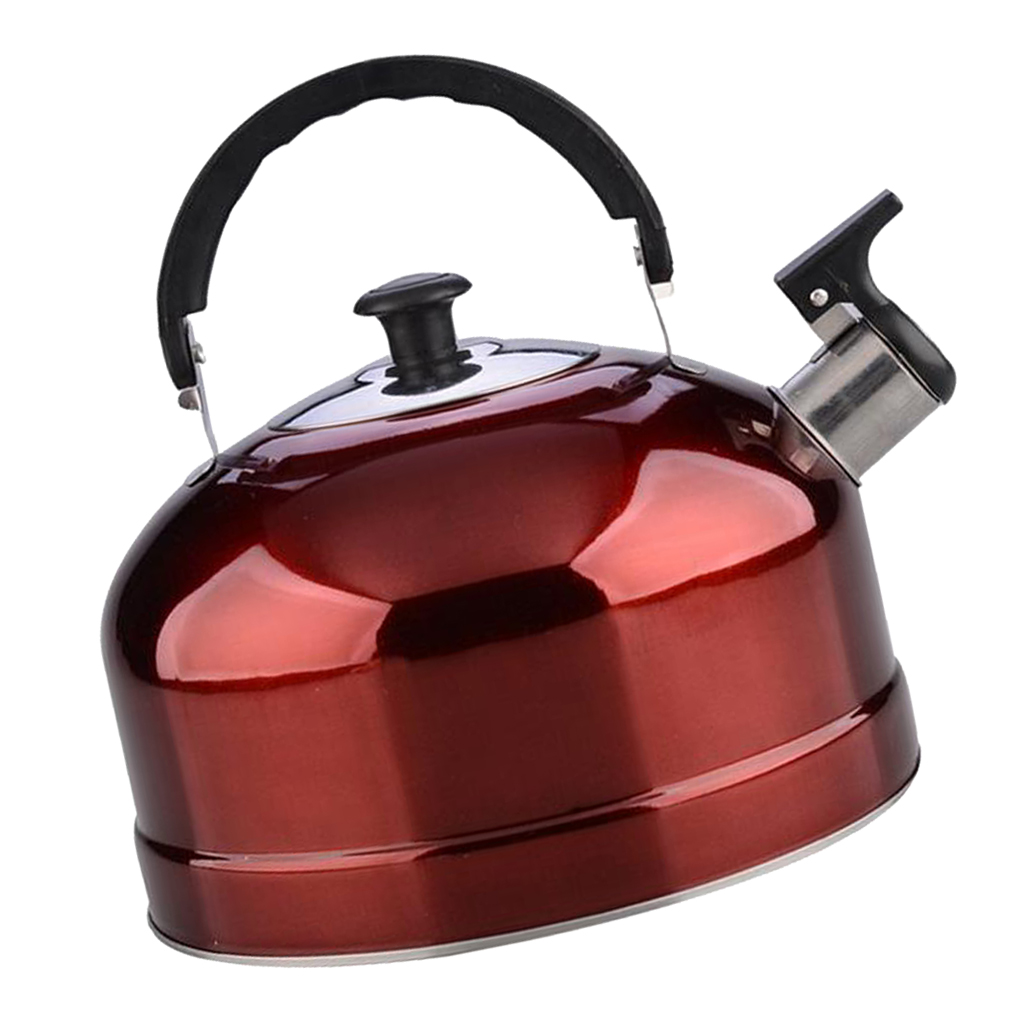 Outdoor Camping Stainless Steel Whistling Kettle Kitchen Tea Pot Red 4L