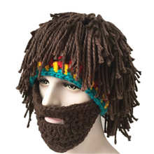 Crochet Bob Marley Reggae Hip Hop Style Cosplay Cap Handmade MenRasta Hat with Beard Jamaica Beanie Knit novelty hiking warm cap недорго, оригинальная цена