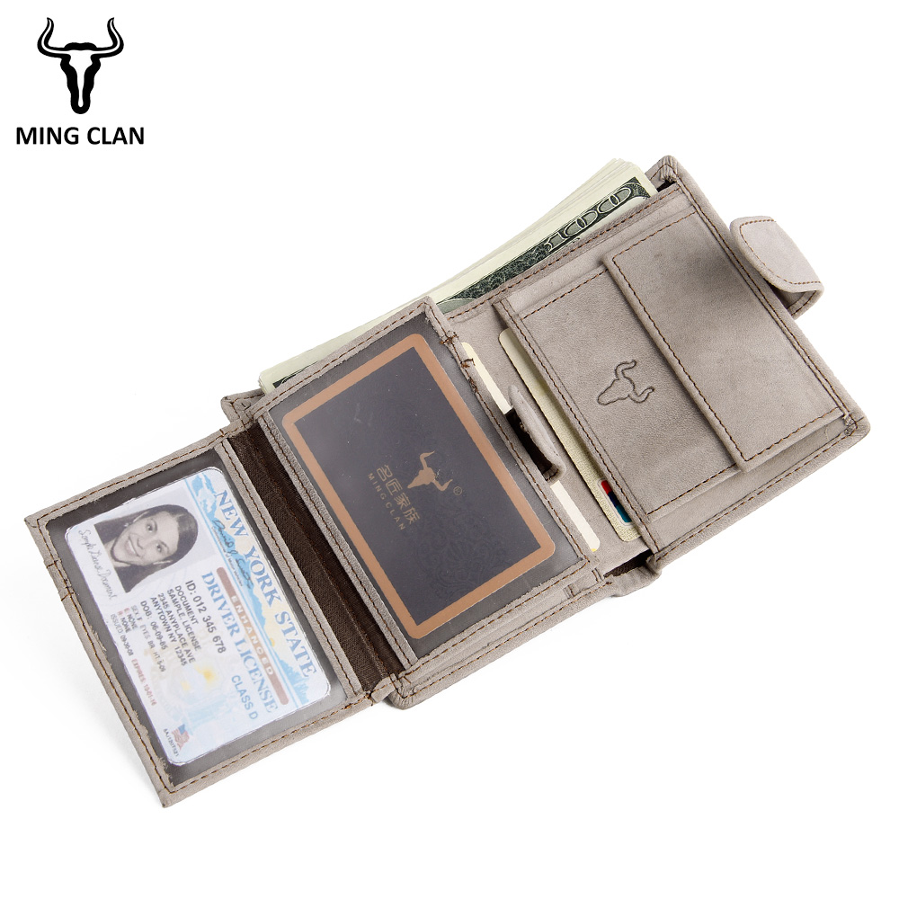 Mingclan Vintage Men Wallet Genuine Leather Short Wallets Male Multifunctional Cowhide Purse Coin Pocket Driver License Holder new cowhide leather men middle long wallets black color credit card holder driver s license passport pocket coin purse id wallet
