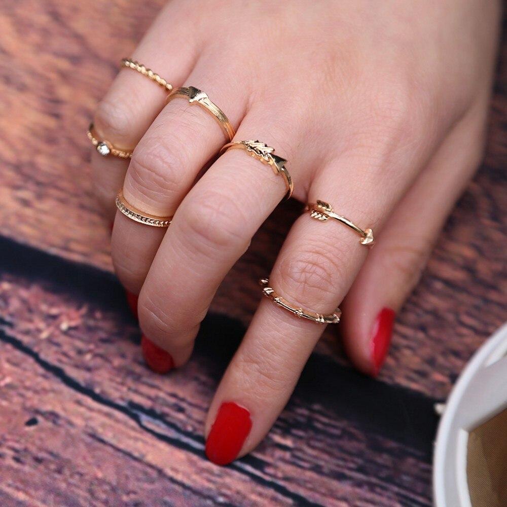 UAM 1 Set=7 Pieces Trendy Simple Gold Color Zinc Alloy Finger ...