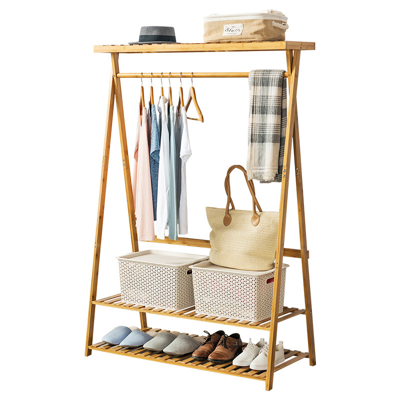 Bamboo coat rack clothing racks with hanging rod for - Bedroom furniture for hanging clothes ...
