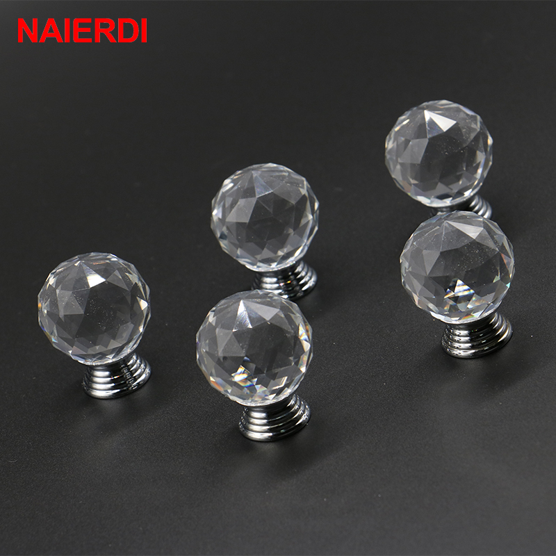 5PCS NAIERDI 40mm Crystal Design Crystal Glass Knobs Cupboard Drawer Pull Kitchen Cabinet Wardrobe Handles Furniture Hardware css clear crystal glass cabinet drawer door knobs handles 30mm