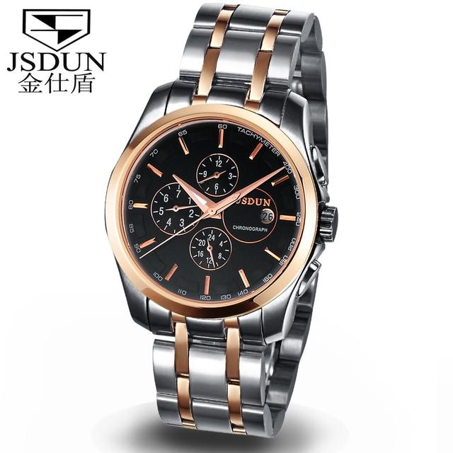 JSDUN Fashion Skeleton Mens Sports  Auto Mechanical Gold Stainless Full Steel Case Band Wrist Dress Casual Wrist Watch 8689