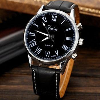 New men watches 2019 top luxury brand clock Faux Leather Analog Quartz Wrist Watch Black  Clock relogio saat zegarek meski