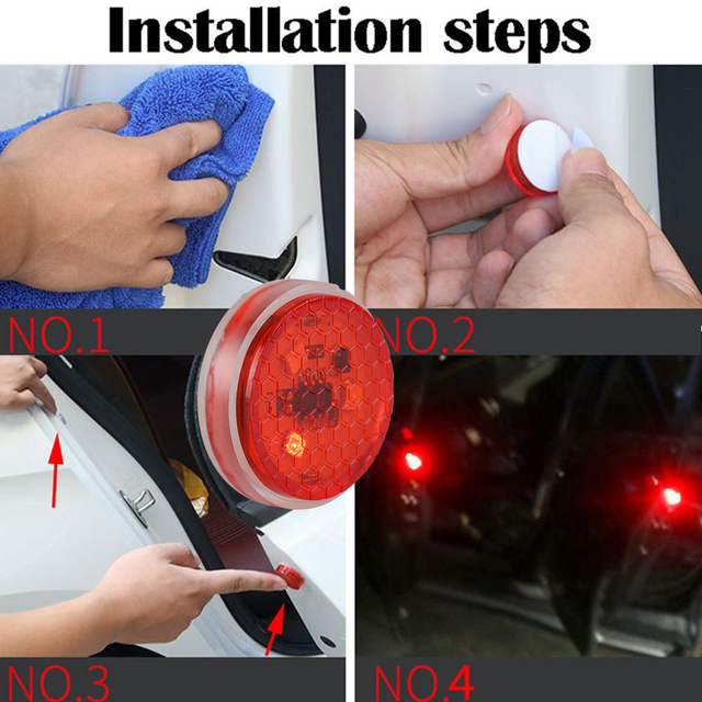 2X Car LED Opening Door Safety Warning Anti-collision Lights Flash Light Red Kit Wireless Alarm Lamp Anti-collid signal light 1