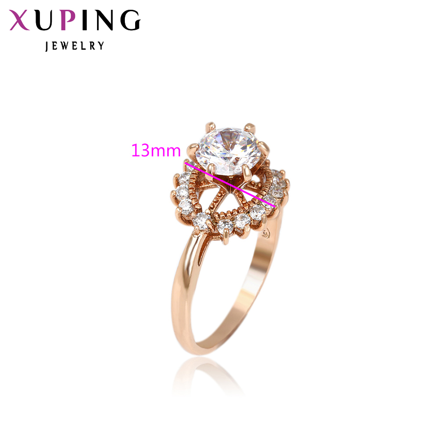 Xuping Fashion Ring New Top Sale Unique Colorful Gold Color Plated Synthetic CZ Wedding Rings Christmas Jewelry For Women 12638
