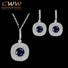 CWWZircons Shiny Tiny Cubic Zirconia Earrings and Pendant Neckalce Fashion 1.25ct Royal Blue CZ Jewelry Sets For Women T024