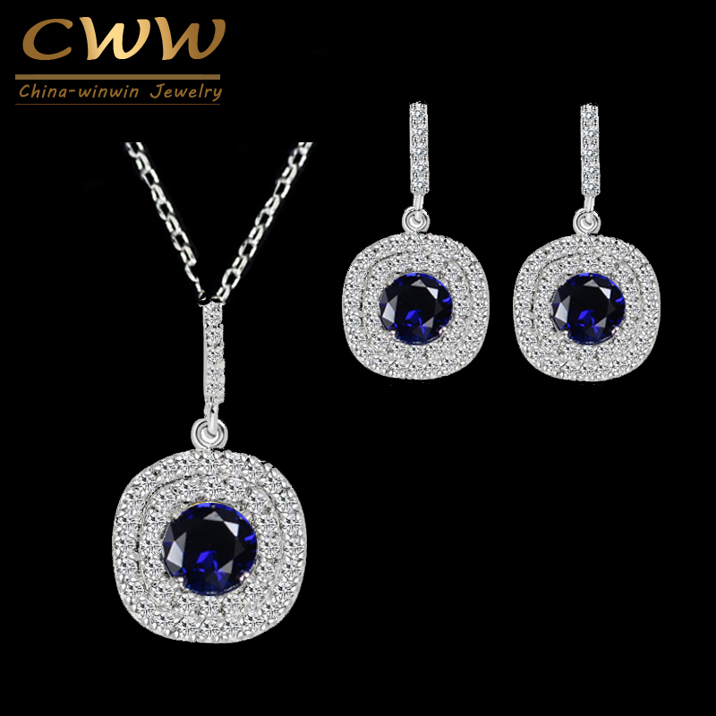 CWWZircons Shiny Tiny Cubic Zirconia Earrings dan Pendant Neckalce Mode 1.25ct Royal Blue CZ Set Perhiasan untuk Wanita T024