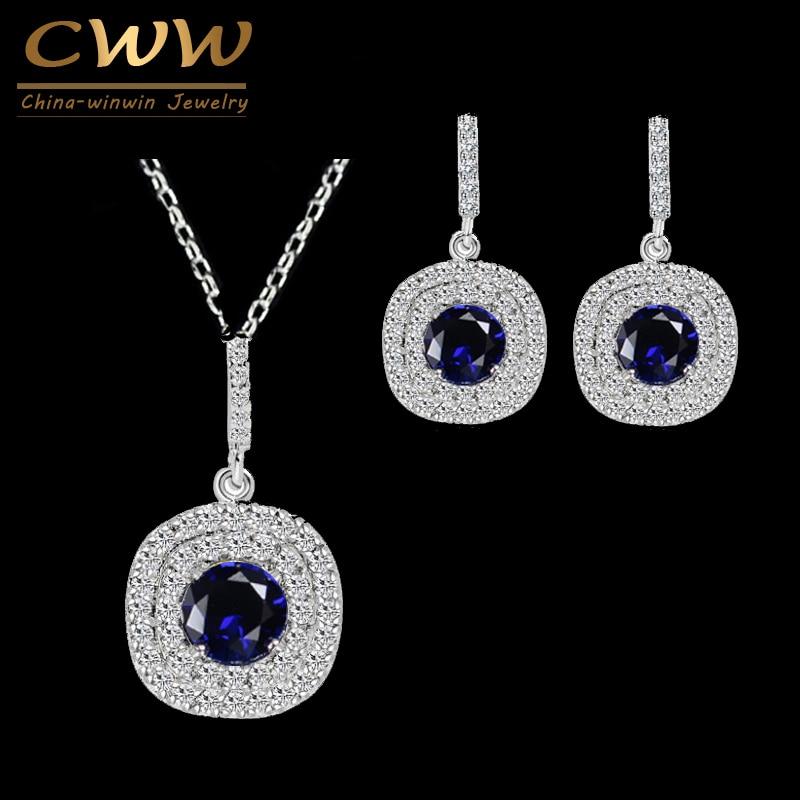 CWWZircons Cercei din zirconiu cubic strălucitor și pandantiv Neckalce moda 1.25ct Seturi de bijuterii albastre CZ albastru pentru femei T024