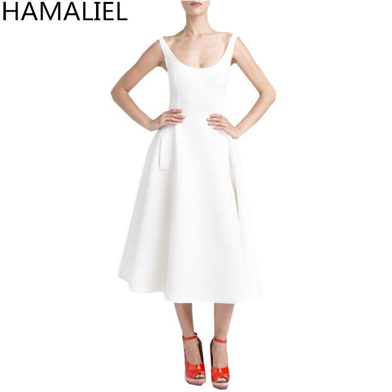 Vestidos elegante verano Mujer Partido vestido 2018 Runway blanco espacio  algodón sin mangas Slim bolsillos swing evening party dress en Vestidos de  La ropa ... 49e769d43c26
