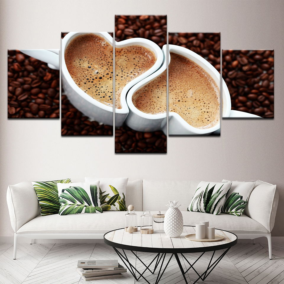Modern Style Canvas HD Painting Wall Prints 5 Set <font><b>Coffee</b></font> <font><b>Table</b></font> <font><b>Coffee</b></font> Beans <font><b>Cafe</b></font> Spray Artwork Modular Picture Home Decor Poster image
