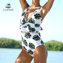 CUPSHE Grün In Die Wald einteiliges Badeanzug Frauen Tiefe V neck Zurück Ausschnitt Rüsche Monokini 2020 Sommer Bade anzug Bademode