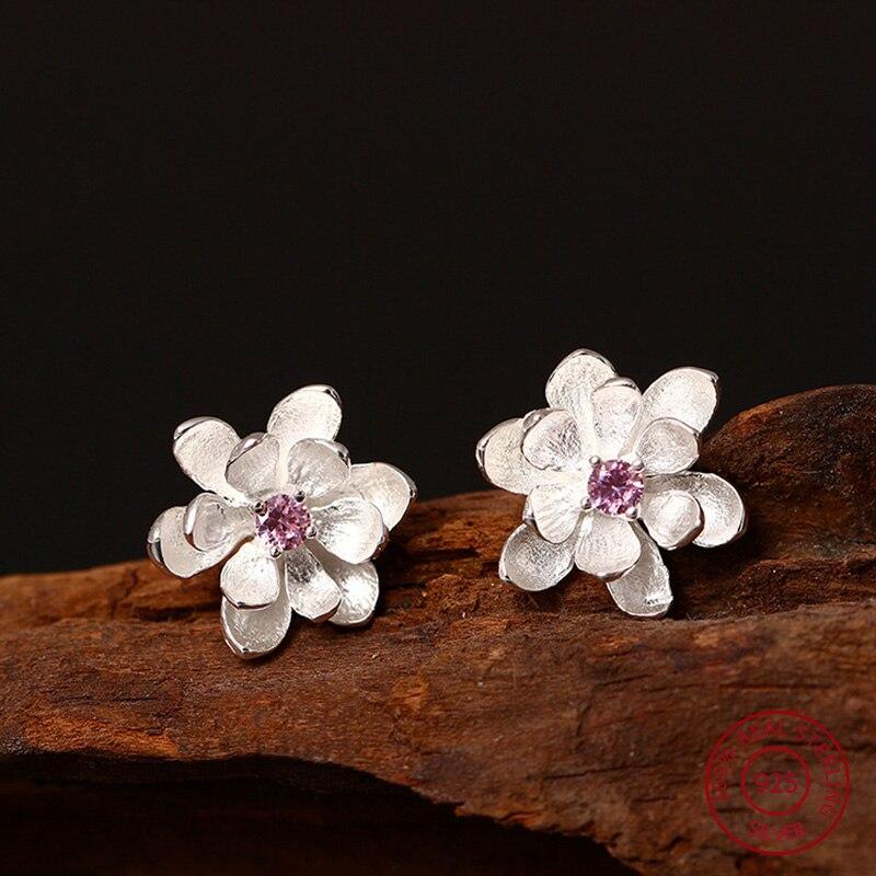100% 925 Sterling Silver Earrings For Women Vintage Lotus Flowers Stud Earrings High Quality Chinese Elements Lady Jewelery YE16