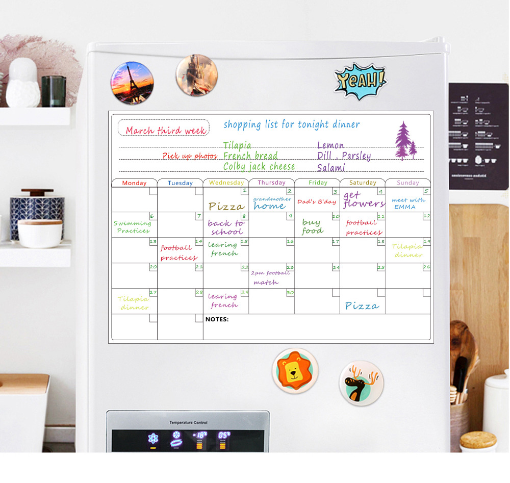 Magnetic Fridge Dry Erase Calendar A3 Magnetic Weekly  For Refrigerator Grocery List Fridge Magnetic Whiteboard Stickers