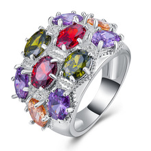 Rose gold rings ruby ring Topaz crystal opal Turquoise amethyst Colorful mixed color zircon Plated 925 Silver Ring B1181