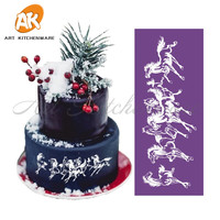 New Running Horses Mesh Stencil Lace Cake Stencil Template For Wedding Cake Decorating Tools Fabric Cake