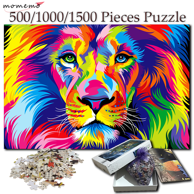 MOMEMO Colorful Lion <font><b>Jigsaw</b></font> <font><b>Puzzle</b></font> 500 1000 <font><b>1500</b></font> <font><b>Pieces</b></font> Wooden <font><b>Puzzle</b></font> for Adults Creative <font><b>Puzzle</b></font> Games for Kids Wooden Gift Toy image