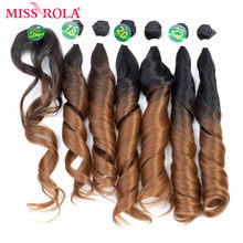 Miss Rola Ombre Wavy Hair Bundles Synthetic Hair Extensions Hair Weaves 18-22 inch 6pcs/Pack With Free Closure 200g Hair Wefts(China)