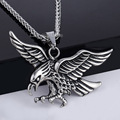 Davieslee Carved Flying Eagle Hawk Silver Tone Stainless Steel Pendant Mens Necklace DLKP507