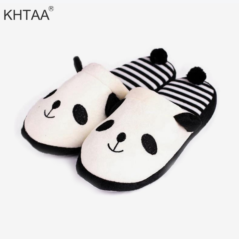 все цены на Plus Size Women Flat Slippers Winter Cute Panda Print Striped Casual Indoor Warm Female Shoes Animals Soft Footwear For Girls